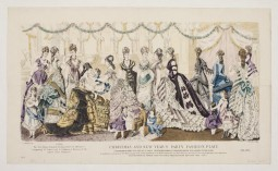 Fashion plate, Christmas and New Year's Party, December 1875. The Young Ladies' Journal.  Collection Victoria and Albert Museum. CC-BY-SA