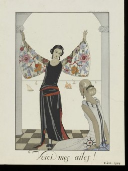 Voici mes ailes!'. Fashion plate (1 of 40) after an illustration by George Barbier, colour process engraving, Falbalas et Fanfreluches. Almanach des modes., Paris, 1922. © George Barbier. Collection Victoria And Albert Museum, CC-BY-NC.