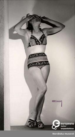 Model wearing bikini of Nordiska Kompaniet. Photograph by Erik Holmen. 1946/1950. Courtesy of Nordiska Museet. CC BY NC ND