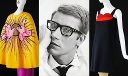A 1964 portrait of Yves Saint Laurent flanked by his 1988 evening outfit inspired by the Cubist movement and a cocktail dress inspired by Pop Art. Photograph: © Fondation Pierre Bergé -Yves Saint Laurent. All rights reserved