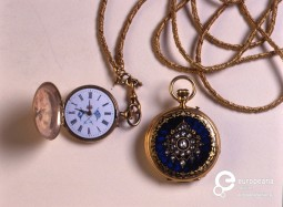 Gold watch with blue enamel and diamonds by Bourvoisier Freres. Paris, Late 19th c.  Courtesy of Peloponnesian Folklore Foundation