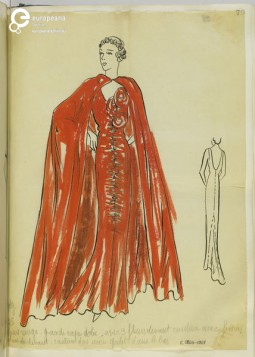 Madame Handley-Seymour after Molyneux. Red evening dress with ruched front and self-fabric roses at bust and matching cloak. London, 1934-35. Collection Victoria and Albert Museum, CC-BY-NC.