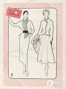 Fashion illustration by Renè Gruau for Pierre Balmain. 1948. Courtesy of Gemeentemuseum Den Haag