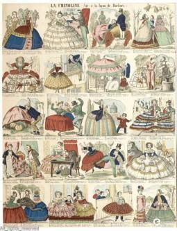 """La Crinoline. Air à la façon de Barbari"" serie of caricatures of women wearing crinolines, 1857-1860. Collection MoMu – ModeMuseum Provincie Antwerpen, all rights reserved."