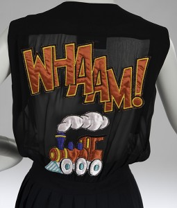 """""""Whaam!"""" dress, designed by Franco Moschino in 1993. Museum Purchase: Funds provided by Deidre and Clay Grubb. T0077.2. Collection of The Mint Museum, Charlotte, North Carolina. All rights reserved."""