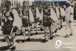 Parade with local costumes from Messologhi, Greece, 1936-1939. Courtesy Peloponnesian Folklore Foundation