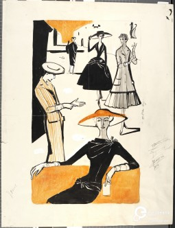 Fashion illustration by Constance Wibaut, 1955. Courtesy Gemeentemuseum den Haag via Modemuze, all rights reserved.