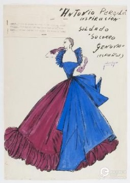 """Fashion plate by Pedro Rodriguez. Dress designed exclusively by Pedro Rodriguez for stores """"Franklin Simon"""" New York. Part of a collection called """"Spanish Renaissance Collection"""" inspired by portraits of the Museo del Prado. 1953. Courtesy of Museo del Traje. All rights reserved"""
