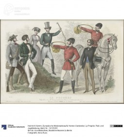 Riding and hunting clothes, Illustrations from Le Progrès, 1851, Courtesy Kunstbibliothek, Staatliche Museen zu Berlin CC BY NC SA