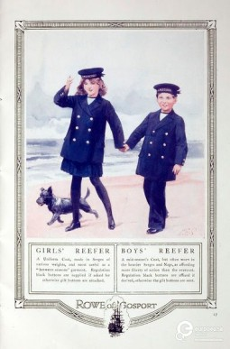 """""""The Royal Navy of England and the Story of the Sailor Suit"""" Trade pamphlet on children's garments issued by Wm Rowe of Gosport, Cowes & London. England, ca. 1900. Printed paper. Courtesy of Victoria and Albert museum. CC BY SA"""