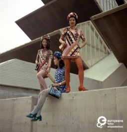 """""""Hostess"""" collection designed by Emilio Pucci for Expo '70 in Osaka. Uniforms for Braniff International. 1970. Courtesy of Emilio Pucci Archive. All rights reserved"""