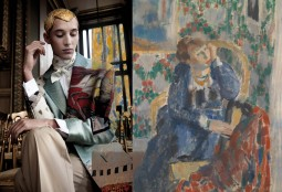 On the left: Walter Van Beirendonck, 'Home Sweet Home' , s/s 2014 © Ronald Stoops. On the right: Rik Wouters, 'Woman with Yellow Necklace, 1912 oil on canvas © RMFAB photo J. Geleyns | RO SCAN.