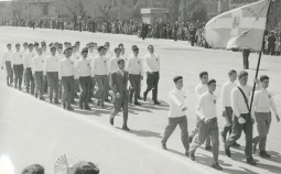 A photo of 'Athena' high school students in the national-day parade. Athens, Greece, 1952. Courtesy Peloponnesian Folklore Foundation.