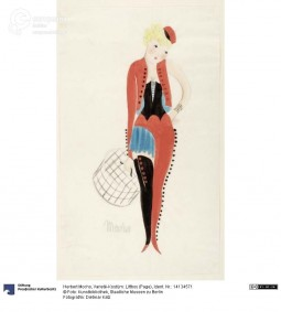 'Varieté-Kostüm: Liftboy', drawing by Herbet Mocho, ca. 1925. Courtesy Dietmar Katz, Kunstbibliothek, Staatliche Museen zu Berlin, CC BY NC SA.
