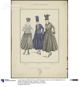 'La Fête Parisienne à New York' in 'Le Style Parisien', two afternoon dresses by Chéruit and one by Lanvin (in the middle), by Lucien Vogel, 1915. Courtesy Anna Russ, Kunstbibliothek, Staatliche Museen zu Berlin, CC BY NC SA.