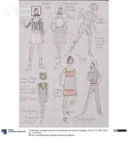 'Collection Overview' of the models presented by André Courrèges, S/S 1965, sketches by Trude Rein. Courtesy  Kunstbibliothek, Staatliche Museen zu Berlin, CC BY NC SA.
