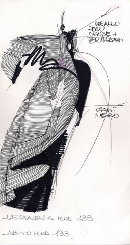 Silk taffeta and silk velvet cape with topstitching. Silk velvet dress. Alta Moda, Fall/Winter 1988. Pencil, fine black felt-tip pen, colored felt-tip pen on construction paper. Courtesy Fondazione Gianfranco Ferré, all rights reserved.