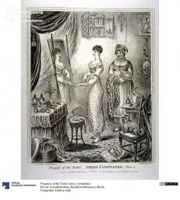 'Progress of the Toilet. Dress Completed', caricature, 1830. Courtesy Dietmar Katz, Kunstbibliothek, Staatliche Museen zu Berlin, CC BY NC SA.
