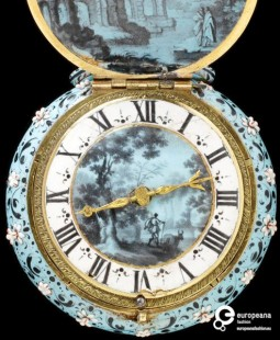 Watch with a case and dial of painted enamel and gilt brass, England, ca.1640, Courtesy Victoria and Albert Museum CC BY