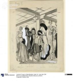 Women in evening dress, illustration by Léonard, ca. 1930. Courtesy Dietmar Katz, Kunstbibliothek, Staatliche Museen zu Berlin, CC BY NC SA.