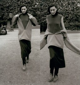 Hermès A/W 1998-1999. Vareuse in double-faced cashmere, sleeveless high-neck pullover in cashmere, mid-length skirt in Shetland wool and boots in calfskin, 'Le vêtement comme manière de vivre' Le Monde d'Hermès, Photo: John Midgley. 'Margiela, The Hermès Years', 31st March - 27th August 2017. Image courtesy MoMu - Fashion Museum Antwerp.